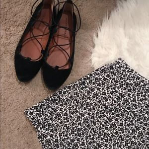 Black and White floral circle skirt